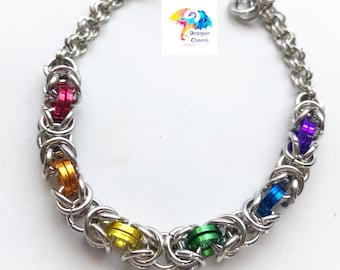 LGBT Silver Rainbow Pride chain mail necklace