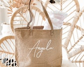 Personalized Bag Beach Bag Bridesmaid Bag Bachelorette Gift Bag with Name Large Beach Tote Custom Gift Bachelorette Party Gift (EB3330ANS) photo