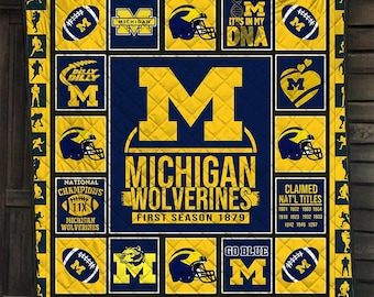 2021 Gift For Michigan Wolverines NFL NCAA Fooball Team Fan Lover Cotton Quilting Fabric Quilt Fleece Blanket Bedding Set Home Bedroom Decor