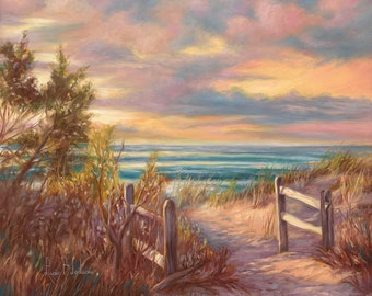 """Original OIL PAINTING - on canvas - """"Beach Walk"""" - Figurative/Realistic/Unique/one of a kind/seascape/ocean/sea/beach/sunset/hand-painted"""