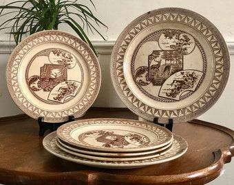 Antique IronStone Transferware Plate Set - JD & Co, Brown Aesthetic, Collectible Plates, Farmhouse Decor