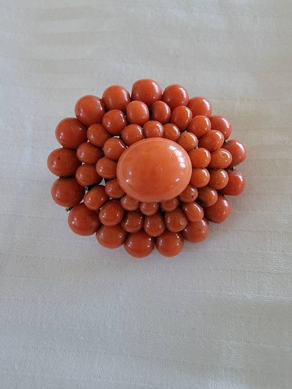 1800s Victorian red Coral and white gold brooch