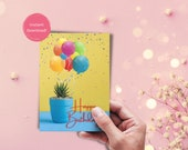 Printable Birthday Card | Succulent and Balloons Birthday Card | Instant Download | Succulent | Balloons| Greeting Card