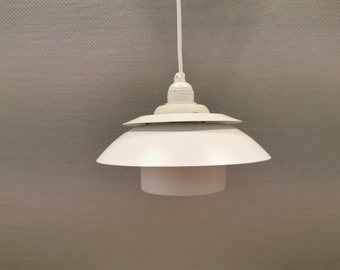 Danish, design, hanging lamp, pendant, DesignLight, Korfu, white, 80s, vintage, retro