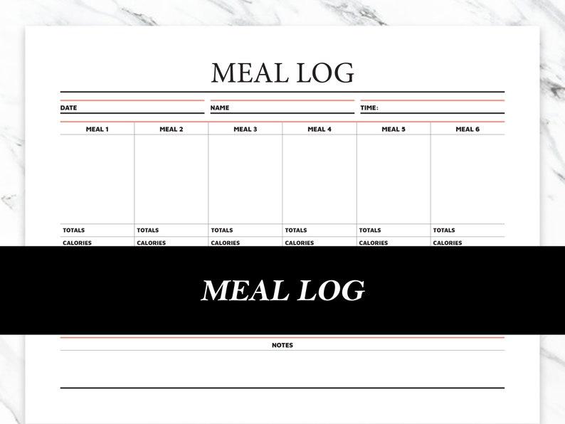 Meal Tracker Printable  Meal Log image 0