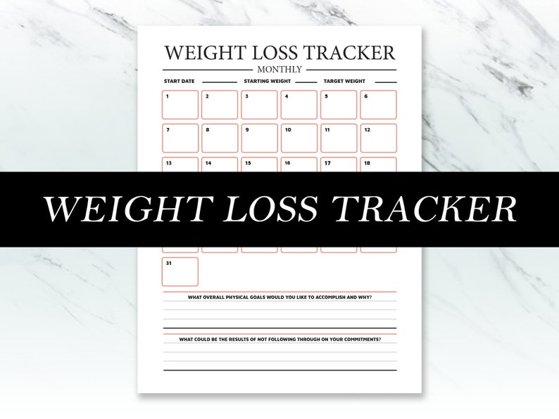 Printable Weight Loss Tracker  Workout Journal image 0