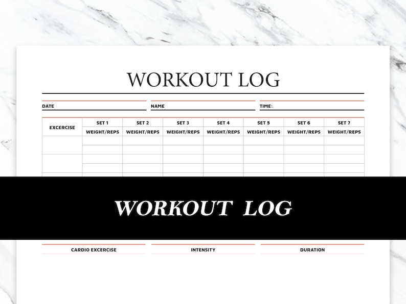 Printable Workout Log  Workout Planner Printable image 0