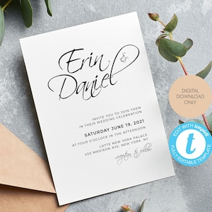 Printable Editable Instant Download Wedding Invitation Templates Stylish Gold Script Free Demo Available