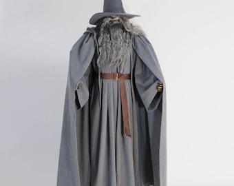 Gandalf cloak hooded gray wool hat beard Lord of rings cosplay costume handmade custom