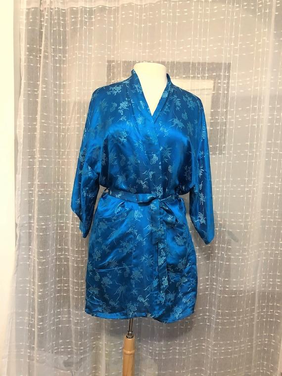 Vintage Blue Silk Brocade Robe//Size L//60s Robe//