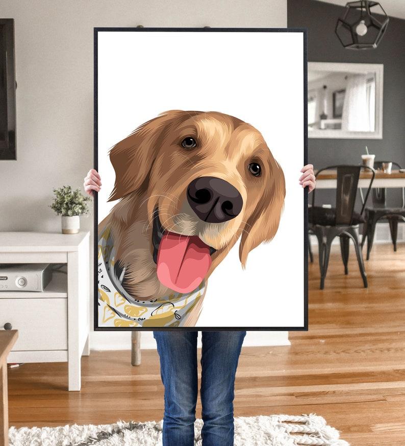 Pet Portrait Custom and Personalized. Pet Dog Wall Art DIGITAL image 0