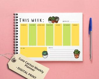 Cute Cactus Weekly Planner  A4 Printable Digital File