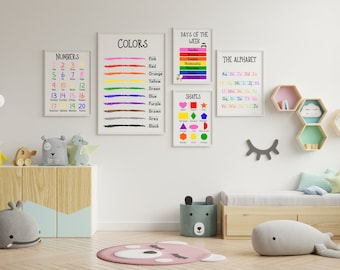 Educational posters - Classroom Posters - Learning Posters - Homeschool Posters (Set of 5)