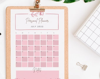 2022 Pretty in Pink Monthly Personal Planner Calendar