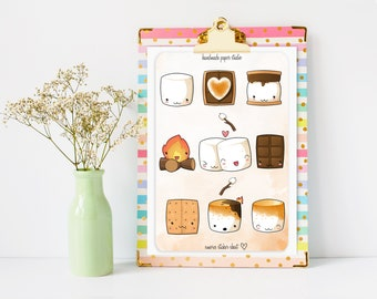 Smores Sticker Sheet, Stickers For Water Bottle, Planner Stickers, Bullet Journaling Stickers, Watercolor, Kawaii, Stickers For Kids
