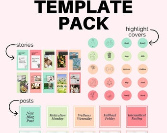 45 Canva Instagram Template Pack, Boho Design Templates To Help You Create Your Instagram Covers, Stories, & Posts Quickly + Easily