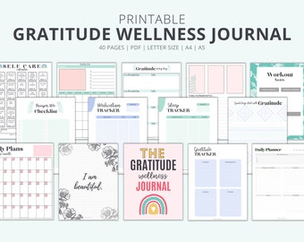 Printable Gratitude Journal, 40 page Health Wellness Journal With Meal Planner, Fitness, Sleep Tracker, Self Care Calendar || Letter, A4, A5
