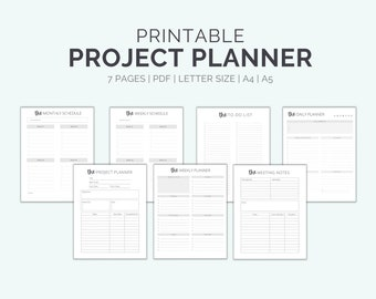 Printable Project Planner Bundle To Help With Productivity And Goal Tracking | Business Plans And Home Projects | Letter, A4, & A5 Sizes