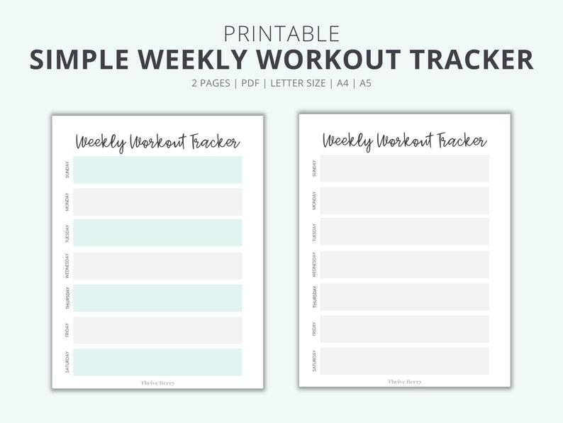 Weekly Workout Tracker PRINTABLE Workout Planner Printable image 0