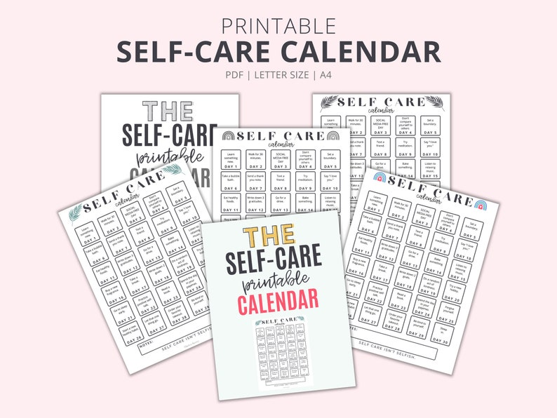 Printable Self Care Calendar In Color And Black And White image 0