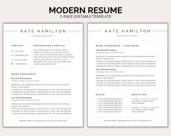 Canva Resume Template, Edit In Canva, 1 & 2 Page Professional Resume Template With Cover Letter To Help Write Your Resume | Professional CV