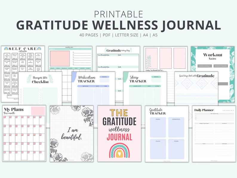 Printable Gratitude Journal 40 page Health Wellness Journal image 0