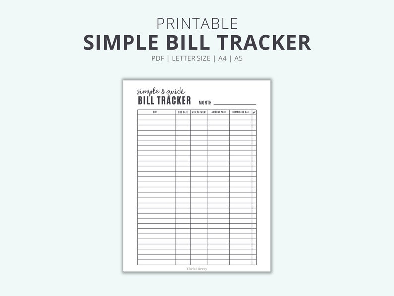 Simple Bill Tracker Printable Monthly Bill List & Expense image 0
