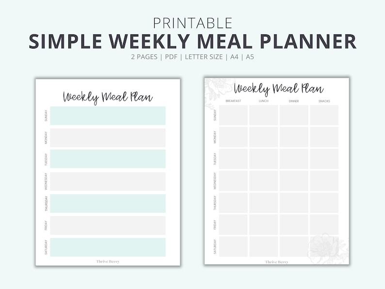 Printable Weekly Meal Planner To Help You Plan Your Meals A image 0