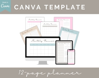 Canva Planner Template, Editable INSTANT DOWNLOAD, printable digital template, canva template. Print as many as you need, stay organized
