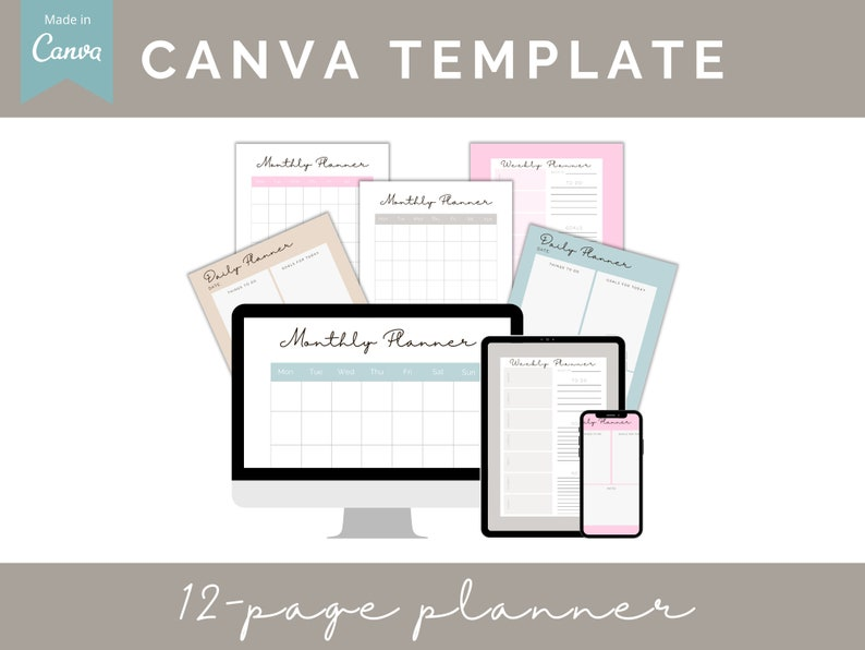 Canva Planner Template Editable INSTANT DOWNLOAD printable image 1