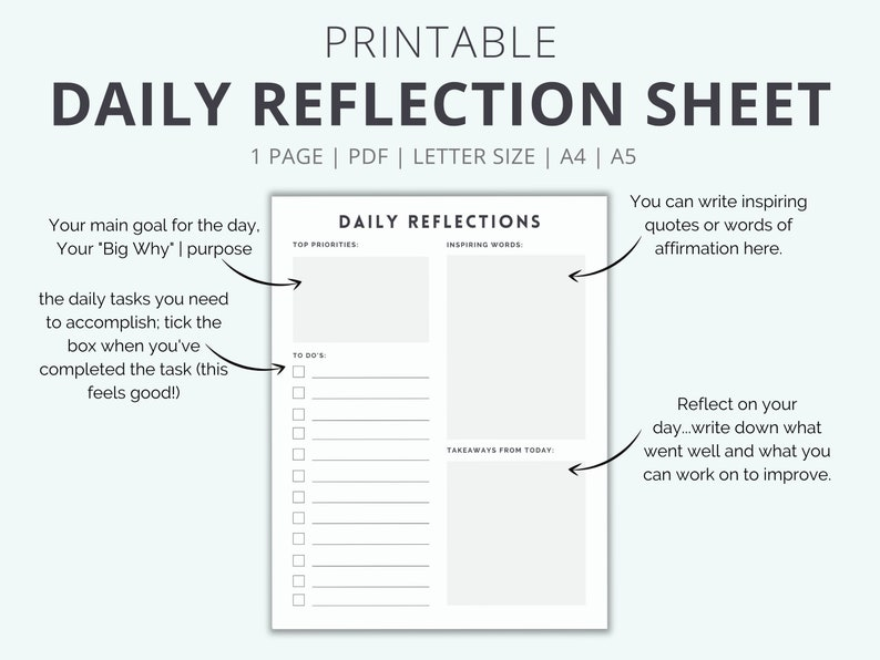 Printable Daily Reflection Journal Sheet To Help You Organize image 1