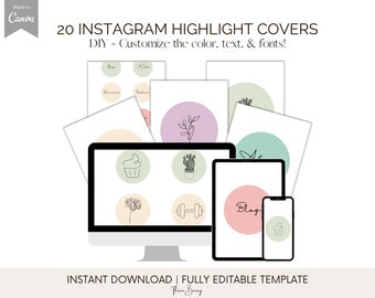 20 Canva Instagram Highlight Covers Template | Edit In Canva For Free. This Boho Design Template To Help You Create Covers Quickly + Easily