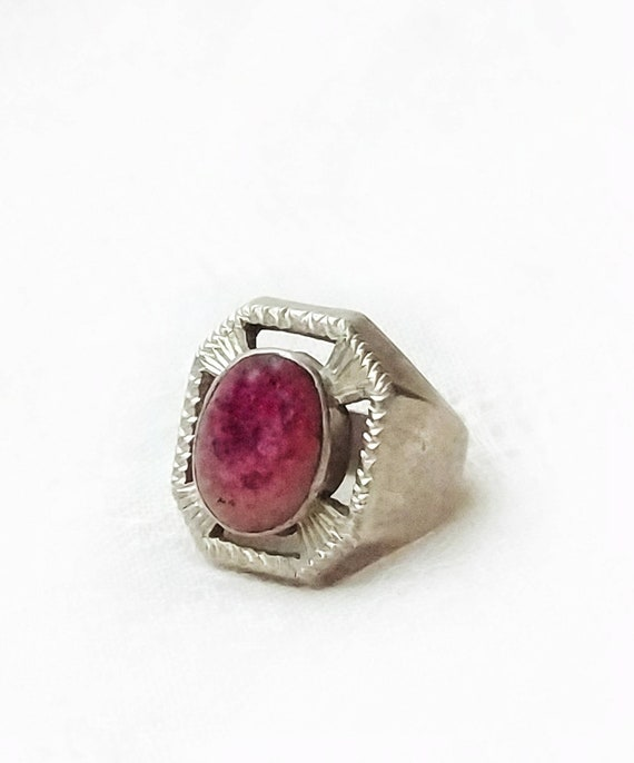 Old Silver and Ruby Gem Ring Pakistan