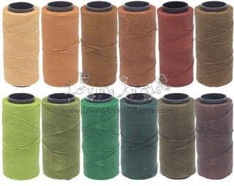 EARTHY Bundle 12 spools 0.8mm Waxed Thread Macrame Jewelry * Leather Stitching * Friendship Bracelet Beading Cord Polyester String Settanyl