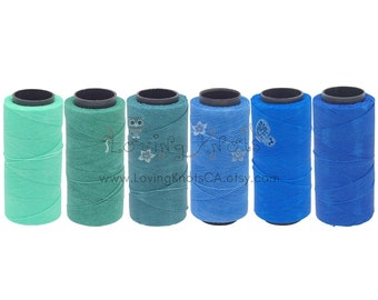 OCEAN SHADES Bundle 6 sp. 0.8mm Waxed Thread Macrame Jewelry * Leather Stitching  Friendship Bracelet Beading Cord Polyester String Settanyl