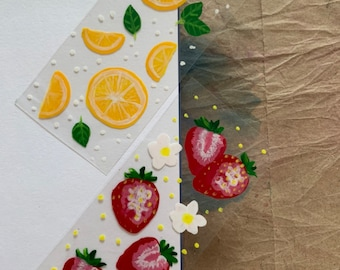 """Strawberry and Lemon """"Glass Painting"""" Bookmark on Plastic"""