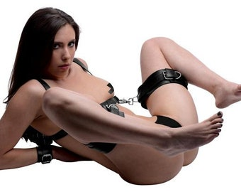 Deluxe Thigh Sling Restraint Harness With Wrist Cuffs Black Vegan Leather