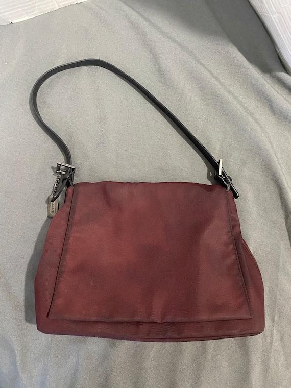 Vintage Coach Burgundy Nylon Shoulder Bag
