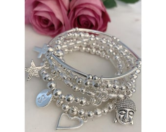 Set of 4 silver beaded Stacker Bracelets with 4 charms