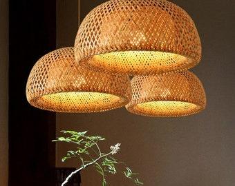Nordic Pendant Lamp  Wooden Pendant Weaving Bamboo Hanging Lampshade Retro Living Room Lighting