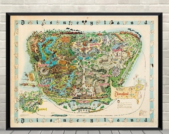Magic Kingdom Map Poster Disney map Poster Disneyland Map Posters Vintage Disney Attraction poster Wall Art
