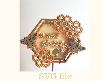 shaker Caketopper Biene SVG Datei für Cricut Maschine