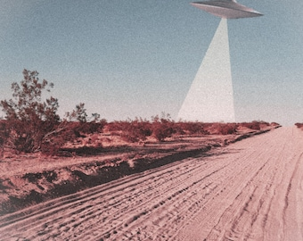 UFO Dream Sci-Fi Vintage Collage Poster Wall Art Print