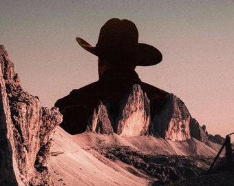 Cowboy Dream Sci-Fi Vintage Collage Poster Wall Art Print