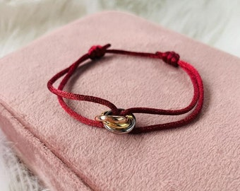3 Ring Silk Rope Trinity Bracelet