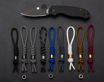 Paracord Knife Lanyard With Your Choice of Bead - Black   Silver   Gold   Titanium
