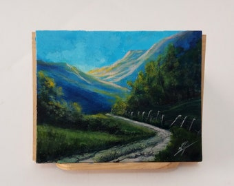 Dawn on the road, acrilyc and oil painting