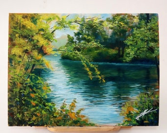 A day on the lake, acrilyc and oil painting