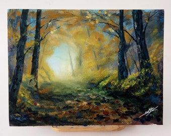 Walk through the forest, acrilyc and oil painting