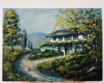 House in the countryside, acrilyc and oil painting